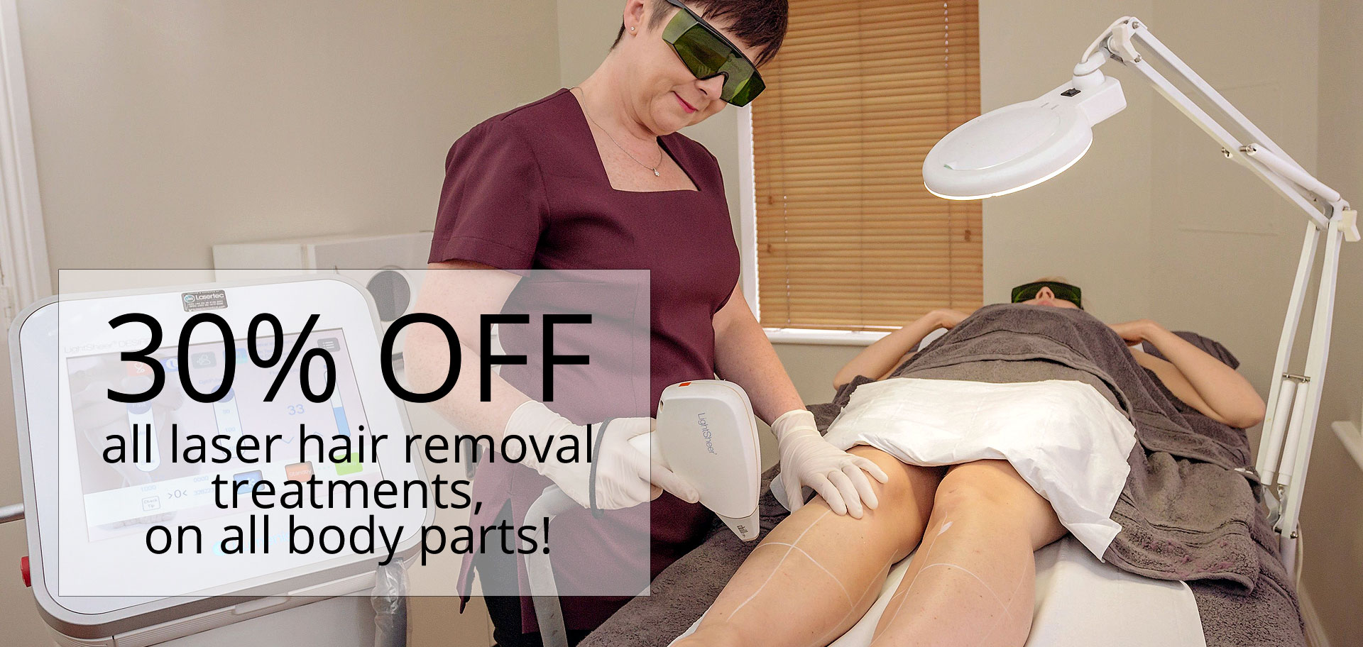 30% off all laser hair removal treatments on all body parts